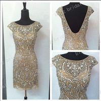 Charming dress sexy Rhinestone Glamorous short Bridesmaid Dress Evening Dress Prom Dress 2014