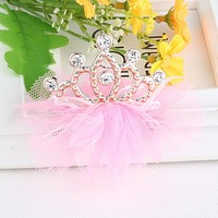 Design Shiny Rhinestone Crown Hair Clip Girls Hair Accessories Grid Yarn Crown Children Accessories Ribbon Baby Hairpins