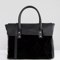 Pieces Foldover Tote Bag With Contrast Velvet at asos.com