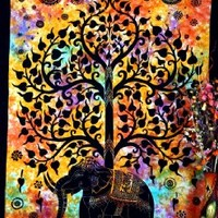 Psychedelic Celestial Elephant Tree Tapestry ,Good Luck Tie Dye Elephant Tapestry , Hippie Gypsy Wall Hanging , Tree of Life Tapestry , New Age Dorm Tapestry