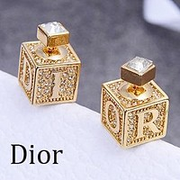 Dior Women Classic Square Dice Alphabet Diamond Earrings Accessories Jewelry