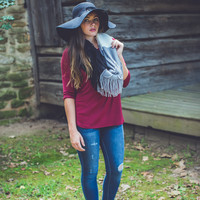 Relaxed 3/4 Sleeve Top in Wine