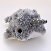 Narwhal Plush Light Grey Swirl w/ Sparkle Tooth by OstrichFarm