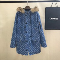 LV Louis vuitton x Supreme Blue Fur coat