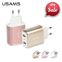USAMS Phone USB Charger Adapter Dual USB Total 3.4A Phone Charger for phone US EU Charger USB Wall Charger for iPhone ipad