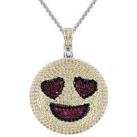 Men's Iced Out Love Struck Circle Emoji Custom Pendant Chain