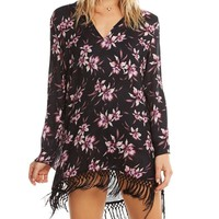 Tropical Floral Print Hooded Tunic