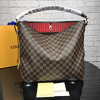 LV Louis Vuitton tide brand female high quality shoulder bag handbag coffee check