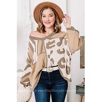 Just For You Tri Printed Olive Sweater