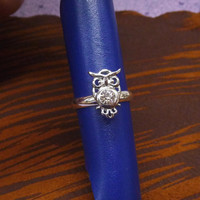 A tiny silver plated owl mult-task ring, above knuckle ring,adjustable finger ring,stackable ring, toe ring, little finger ring