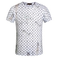 LV Louis Vuitton summer men and women round neck print Slim T-shirt F-A00FS-GJ white