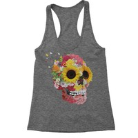 Sunflower Skull Racerback Tank Top for Women