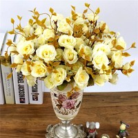 """One Bouquet 7 forks 14 head (30cm, 11.8"""") Roses Silk Artificial Flowers"""
