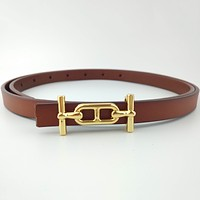Hermes new H gold buckle solid color classic ladies small belt