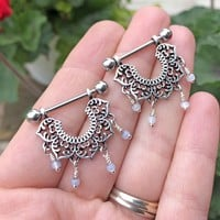 Mandala Lotus Flower Nipple Barbells