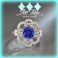 Sapphire Engagement Ring  7.5mm. 2.1ct Round Cultured Blue Sapphire in a 14K White Gold Diamond Halo Setting - Art Deco Nouveau Vintage