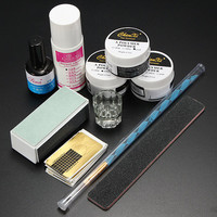 Nail Art Set Acrylic Powder Primer Brush Pen Dish Forms Buffer File