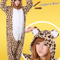 Xmas Gift Leopar Bear Pajamas One Piece women sleep Pyjamas Anime Cosplay Costume Hoodie Onesuit = 1958228228