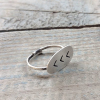 Silver Chevron adjustable handmade ring