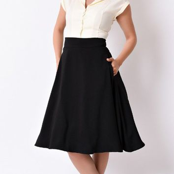 Second Guess 1950's Style Swing Black High Waist Skater Circle Flare A Line Midi Skirt