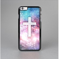 The Vector White Cross v2 over Colorful Neon Space Nebula Skin-Sert Case for the Apple iPhone 6 Plus