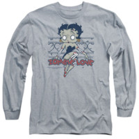 Betty Boop-Zombie Pinup Long Sleeve T-Shirt Adult Athletic in Heather Grey Licensed