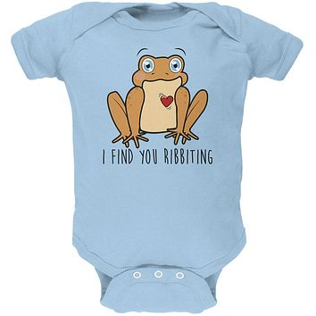 Toad I Find You Riveting Funny Pun Valentine's Day Soft Baby One Piece