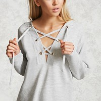 French Terry Lace-Up Hoodie