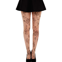 Black & Nude Sheer Floral Tattoo Tights