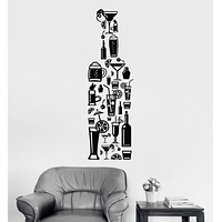 Vinyl Wall Decal Bottle Alcohol Cocktail Bar Drinks Stickers Unique Gift (1021ig)