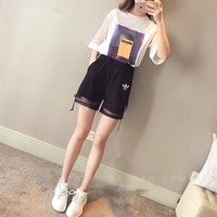 """Adidas"" Women Casual Fashion Pattern Print Short Sleeve T-shirt Gauze Shorts Set Two-Piece Sportswear"