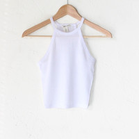 Knit Ribbed Cropped Cami - White