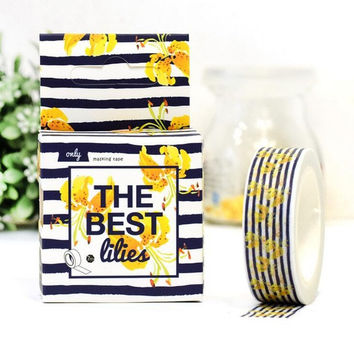 4J213 1.5cm Yellow Summer Flowers Decorative Washi Tape DIY Scrapbooking Masking Tape School Office Supply