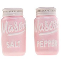 Pink Mason Jars Salt & Pepper Shakers - Kitchen Ceramic Shakers | Retro & Farmhouse Decor | Dishwasher & Microwave Safe | Set of 2 | Baking Supplies| Rustic Home Accessory & Gifts by Goodscious