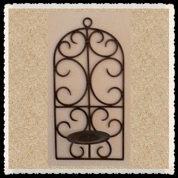Sconce Vintage Wrought Iron Gold Pillar Candle Holder Home Decor Wall Art Wall Hanging Country Decor Victorian Decor Cottage Chic Decor Gift