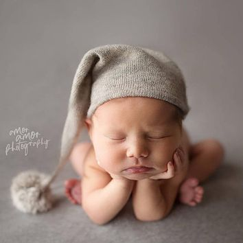 Newborn Photography Clothing, Cute Shape Hats For Baby Photos, Baby Fur Ball Knitted Long Tail Hats