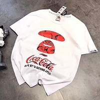 Bape Aape X Coca Cola Popular Women Men Casual Print Round Collar T-Shirt Top Blouse White