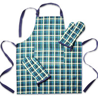Oven Mitts & Apron Set, Blue/Green, Aprons