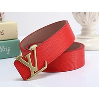 LV joint name Supreme tide brand men and women models wild personality smooth buckle belt red