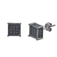 Sterling Silver Micropave Stud Earrings Black CZ Square 3d Sidestones 7mm x 7mm