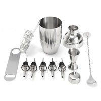 Cocktail Shaker Set With Mixer Martini Mojito Spirits  Drink Wine Maker Strainer Muddler Pourer Bar Accessories