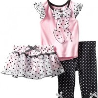 Young Hearts Baby Girls' 3 Piece Shirt With Skirt And Pant, Pink, 24 Months
