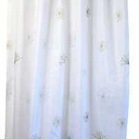 Nuvo Design Printed Fabric Shower Curtain with Metal Grommets and Weighted Hem, Dandelion Design