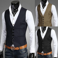 Free shipping-2014 new winter coat Korean Slim casual men's fashion vest vest black V-neck vest