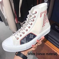 Louis Vuitton LV new canvas shoes high-top all-match college style breathable retro white shoes