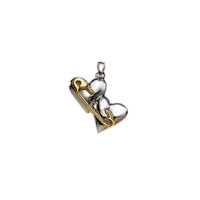 Rebel Punk Double Heart Sterling Silver Charm