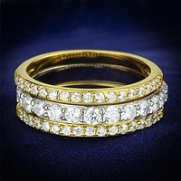 Gold Engagement Rings TS568 Gold+Rhodium 925 Sterling Silver Ring with CZ