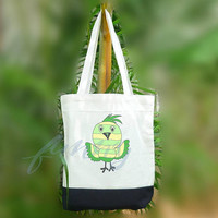Funny green Bird tote bag love 2 size Two tone off-white/black , shopping tote bag, printed tote bags
