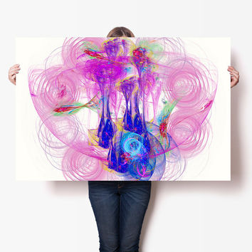 Fairytale Nebula Art Print - Bright Pink Energy Art - Abstract Nursery Wall Art, Digital Download | Abstract Modern Fairytale Art Decor