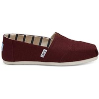 TOMS - Venice Collection Black Cherry Heritage Canvas Women's Classics Slip-Ons